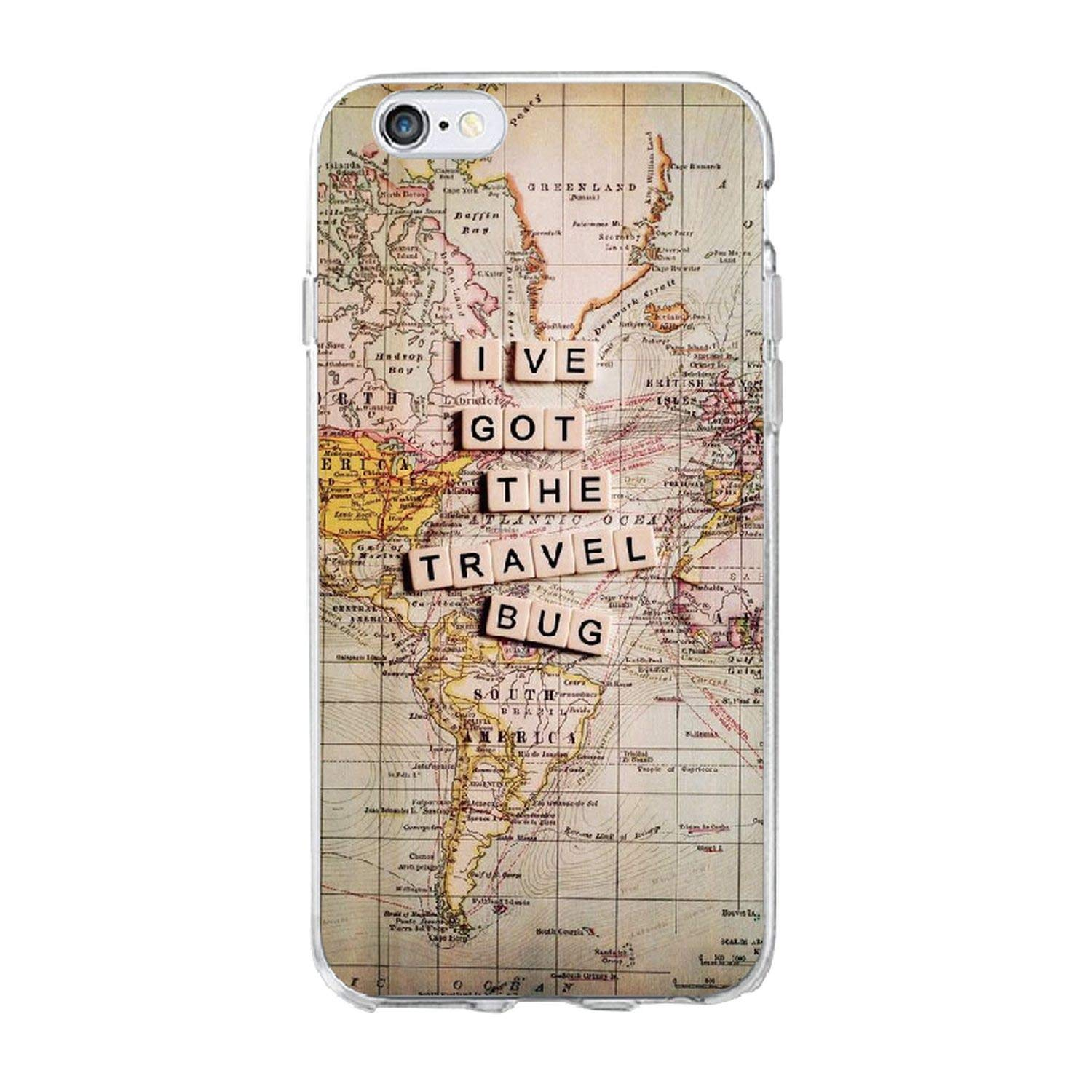 Amazon.com: World Map Travel Just Go Soft Clear Phone Case ...