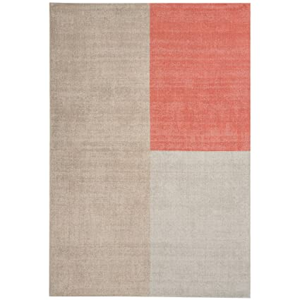 Blox Modern Shapes 100 Wool Hand Woven Coral Beige Neutral Living Room Rugs