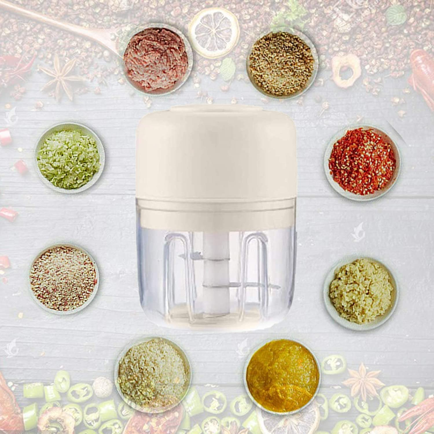 Mini Electric Food Garlic Chopper Compact Rechargeable Electric Mini Food Processor Vegetable Grinder Blender Crusher Press for Meat Fruit Onion Multi-function Processor
