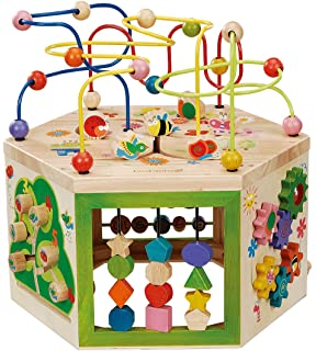 EverEarth Garden Activity Cube. Wood Shape U0026 Color Sorter, Bead Maze U0026  Counting Baby