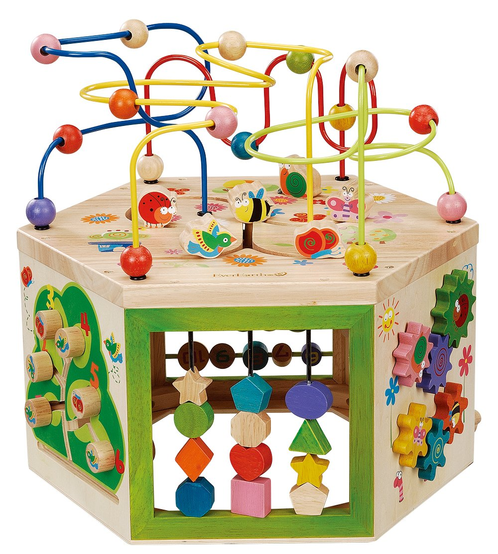 EverEarth Garden Activity Cube. Wood Shape & Color Sorter, Bead Maze & Counting Baby Toy