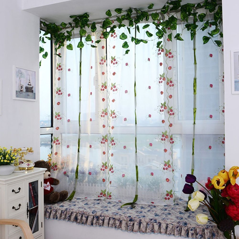 Pastoral Tulle Window Embroidered Sheer Curtain for Kitchen Living, 1 Panel Shineweb