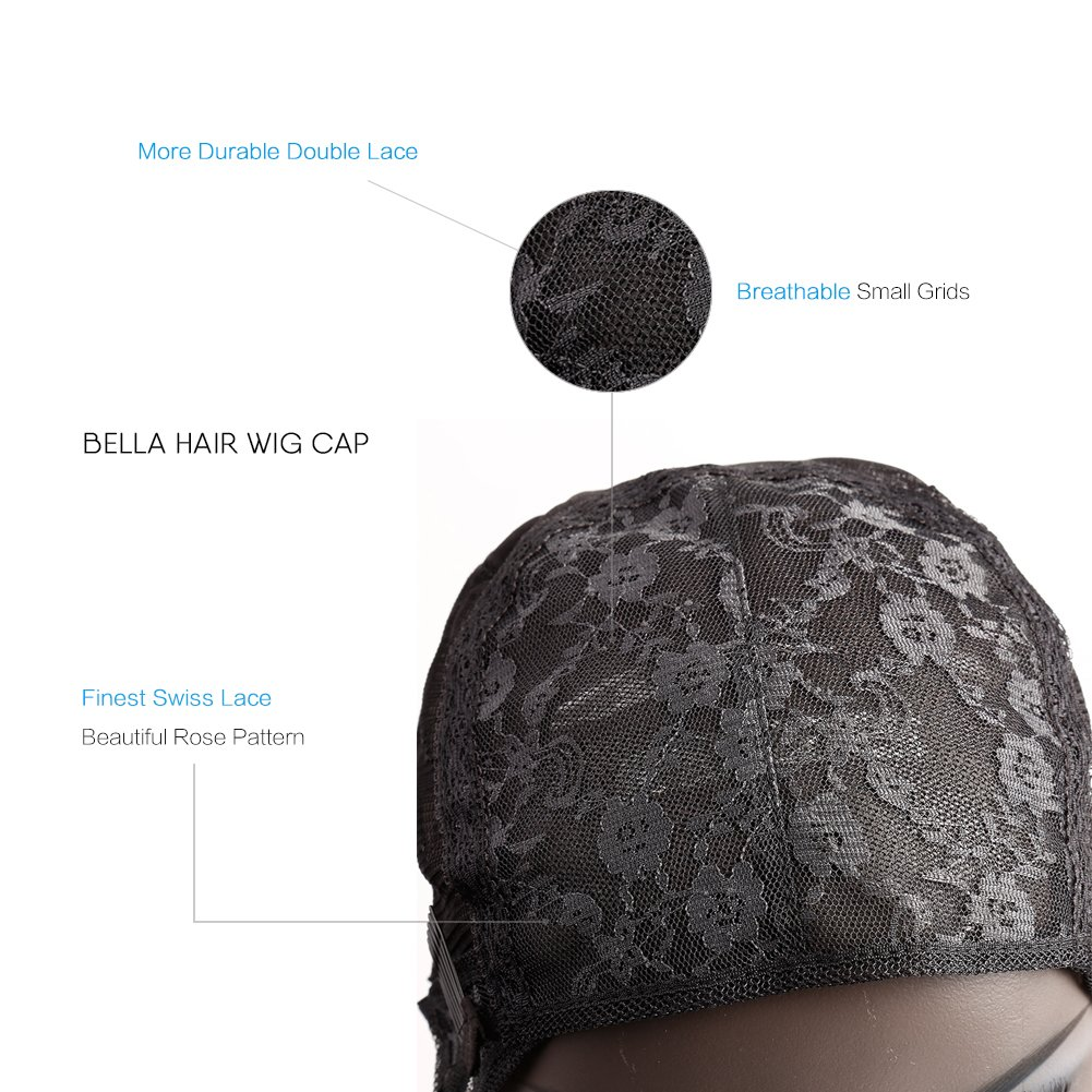 Bella Hair Glueless Wig Caps for Women Making Wig with Combs and Adjustable Straps Swiss Lace Black Medium Size by Bella Hair (Image #2)