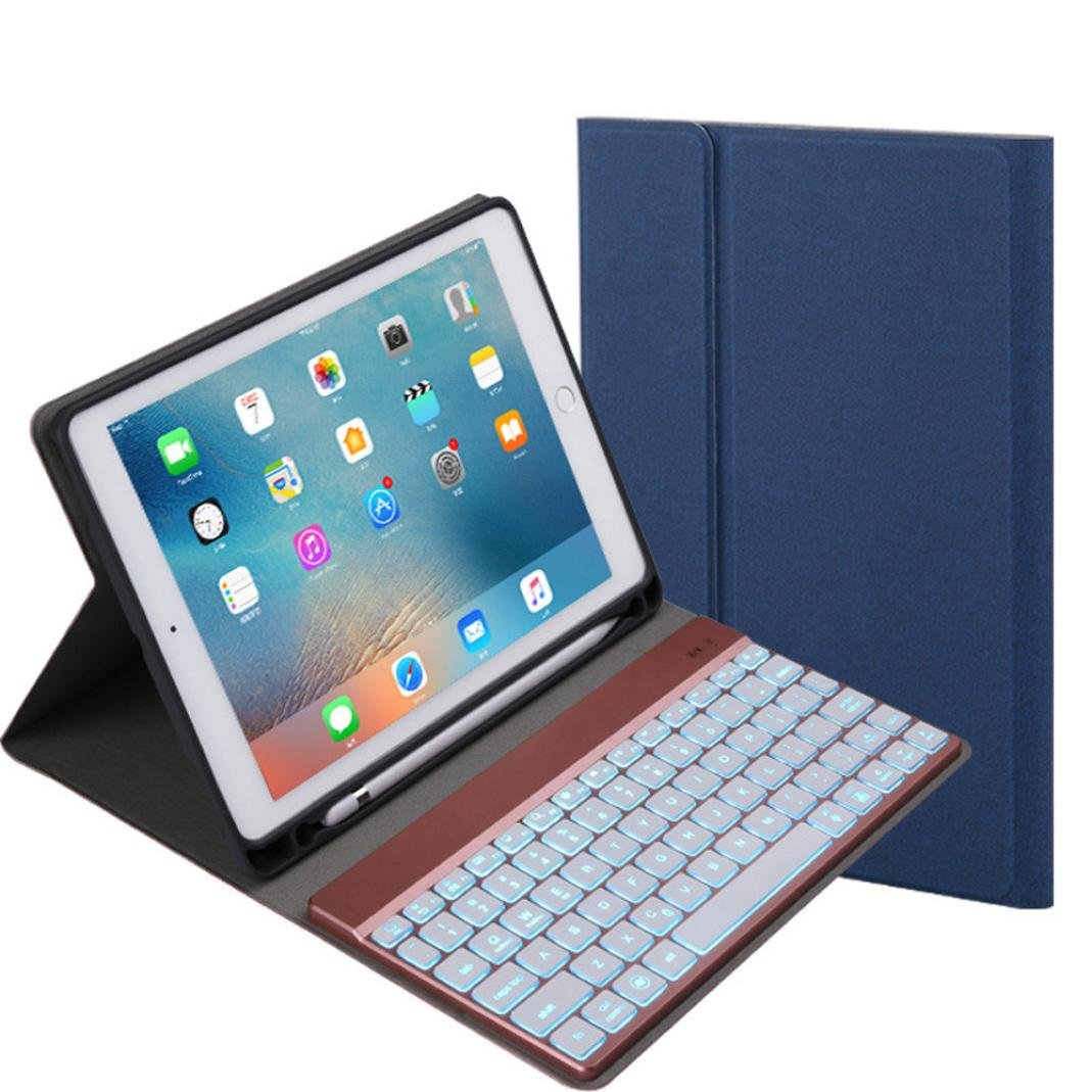 Cywulin Wireless Detachable Bluetooth 3.0 Keyboard, Foldable Ultra Slim Rechargeable Keyboard for iPad 9.7 2017/2018 Pro Air 2/1 (With backlit, blue)