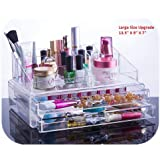 Unique Home Acrylic Jewelry & Cosmetic Storage Makeup Organizer, Large, 2 Piece