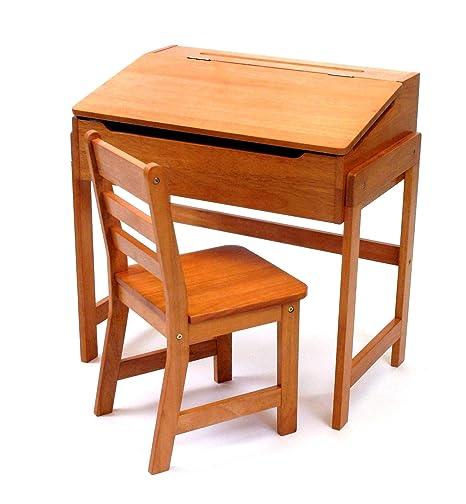 Terrific Lipper International Kids Desk With Chair Slanted Top Pecan Short Links Chair Design For Home Short Linksinfo