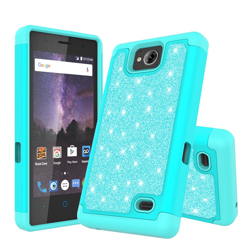 For ZTE TEMPO (N9131)/Majesty Pro Z798BL/Majesty Pro Plus Z899VL Cute  Glitter Bling Sparkle Dual Layer Protective Hybrid Case With HD Screen  Protector