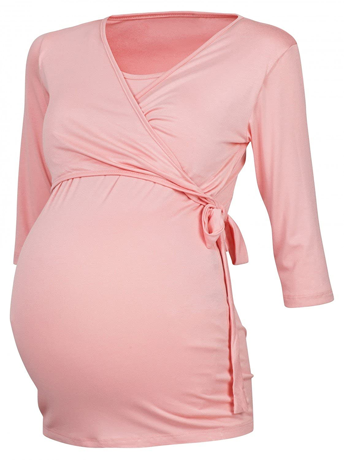 Happy Mama. Womens Maternity Nursing 2in1 Bolero Top Shirt 3/4 Sleeve. 458p 739856_458