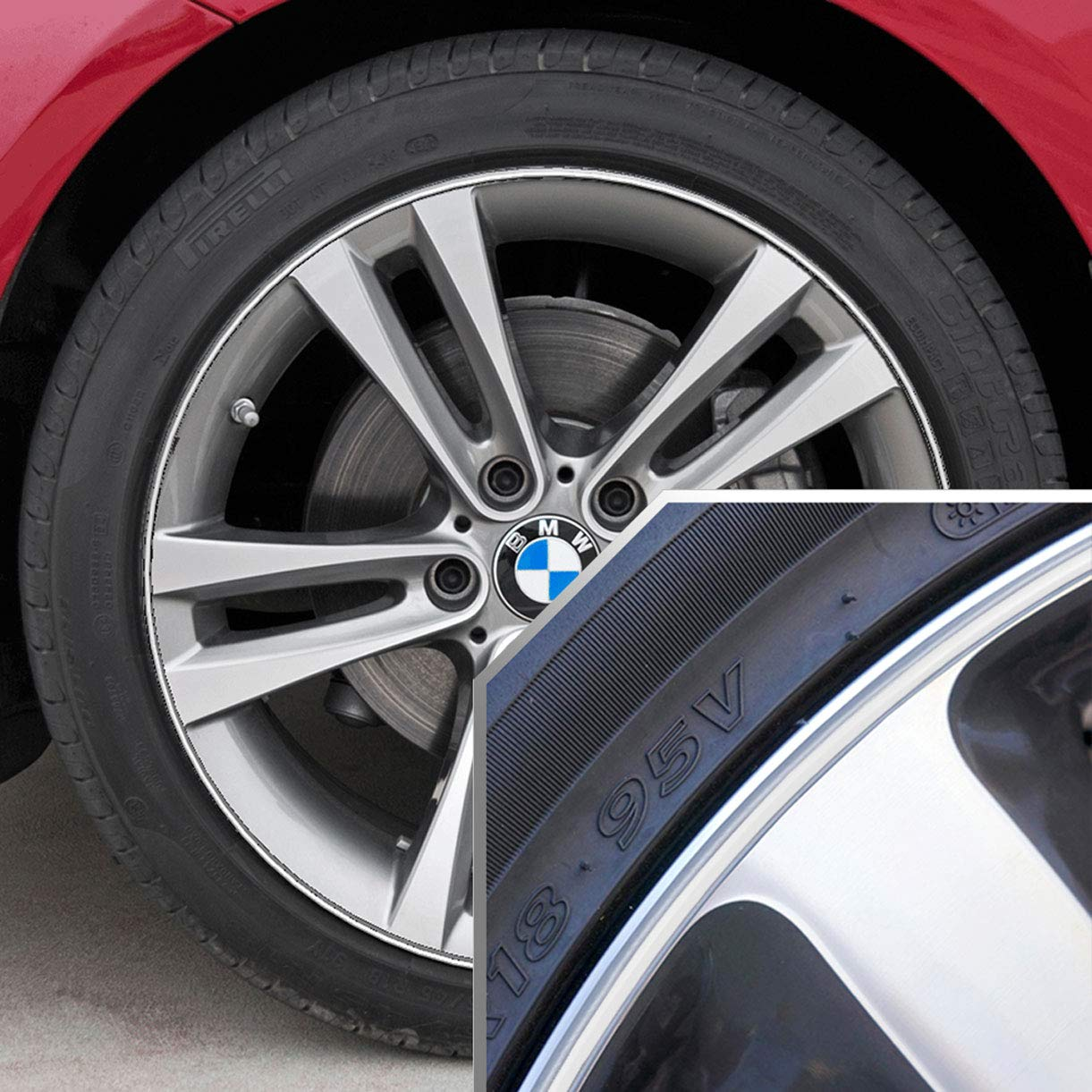 Upgrade Your Auto Wheel Bands Neon Green in Black Pinstripe Rim Edge Trim for BMW I3 Full Kit