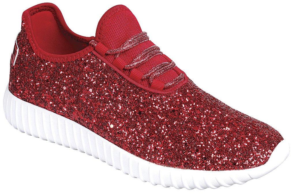Cambridge Select Women's Closed Toe Glitter Encrusted Lace-up B07DXGB3TC Casual Sport Fashion Sneaker B07DXGB3TC Lace-up 7.5 B(M) US Red 38f83b