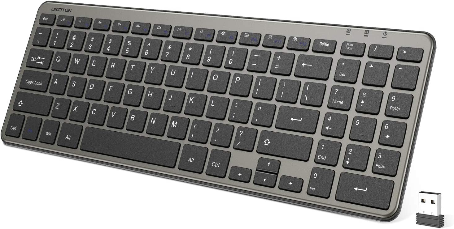 OMOTON Wireless Keyboard, Ultra Slim Computer Keyboard with Numeric Keypad for Computers, Desktops, PCs, Laptops with Windows 7/8 / 10, Grey