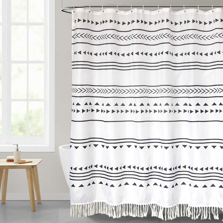 Kanuyee Tassel Shower Curtain Stripe Fabric Shower Curtain Black and White Boho Chic Cloth Shower Curtain Bathroom Decor 72