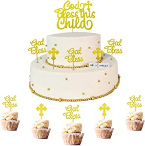 50 PCS Glittery God Bless and Cross Cake Toppers God Bless This Child Cake Topper Set for Baby Shower Birthday Baptism Christian Party Decorations