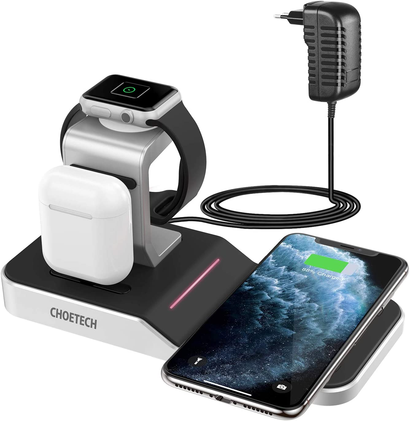 CHOETECH Cargador Inalámbrico MFI, 4 En 1 Apple Watch 5/4/3/2/1,Airpods 1/2/Pro, iPad Base Carga, 7.5/10W Qi Cargador para iPhone 11/11Pro Max/SE/X/8/XR/8 Plus, Galaxy Note 10/Note 9 / S20/S10/S9/S8