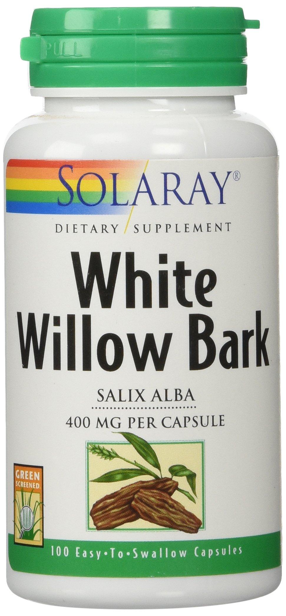Solaray White Willow Bark Capsules, 400 mg, 100 Count