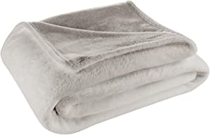 Cosy House Collection Twin/Twin XL Size Fleece Blanket – All Season, Lightweight & Plush Hypoallergenic - Microfiber Blankets for Bed, Couch or Travel - Silver