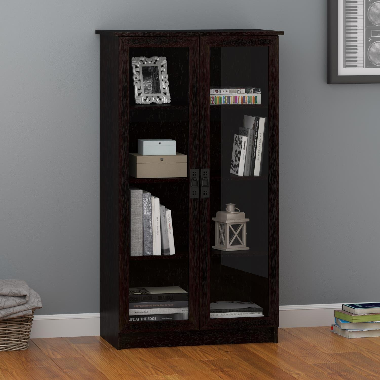 Delicieux Amazon.com: Ameriwood Home Quinton Point Glass Door Bookcase, Espresso:  Kitchen U0026 Dining