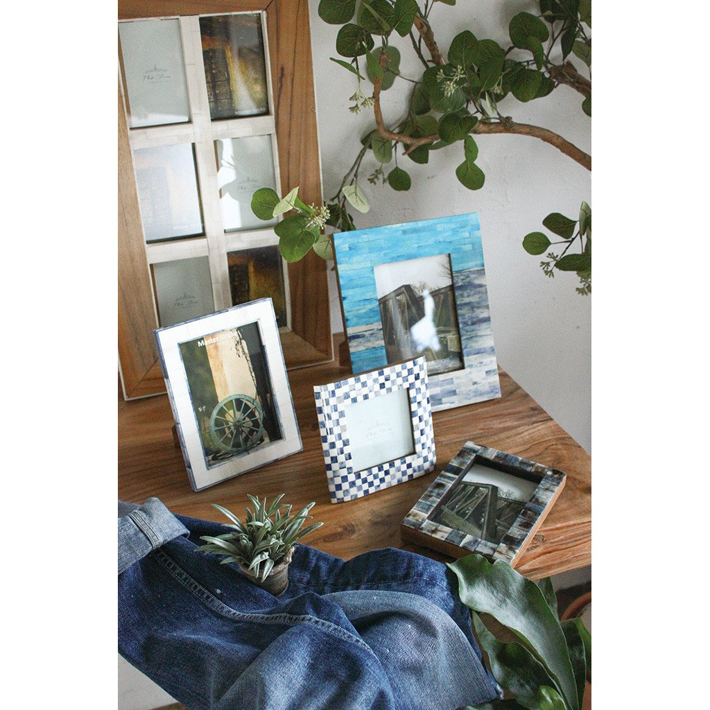 Time Concept Anciente Blue Checkered Square Photo Frame 4 x 4 Picture Size