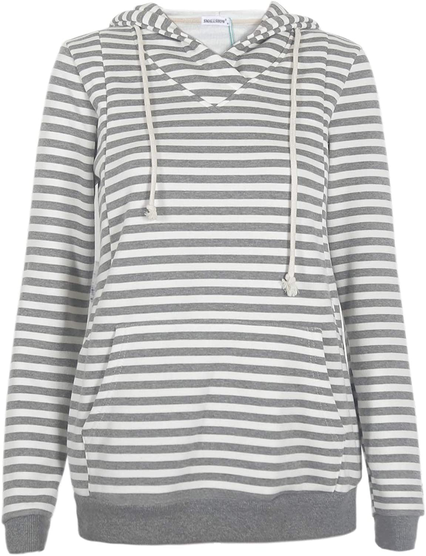 Smallshow Nursing Hoodies Fleece Maternity Sweatshirt for Breastfeeding
