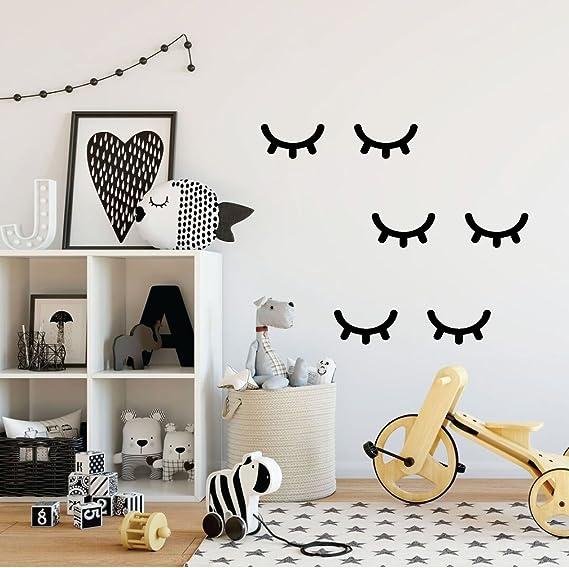 2X 3D Sleepy Eyelash Closed Eye Wood Wall Sticker Decal Art Bedroom Room Decor G
