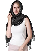 R.C.Y. Crinkled Hijabs for Women - Metallic Sparkle Scarf, Glitter Party Shawl for Women