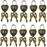 Mmei Pack of 10 Old Vintage Antique Style Heart Shaped Mini Padlocks Key Lock for Jewelry Findings Arts Crafts Sewing