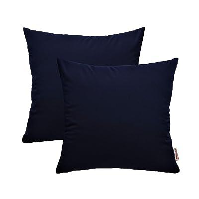 "Sunbrella Indoor Outdoor Decorative Patio Square Throw Pillows Water Resistant Set of 2 (17"" x 17"", Canvas Navy) : Garden & Outdoor"