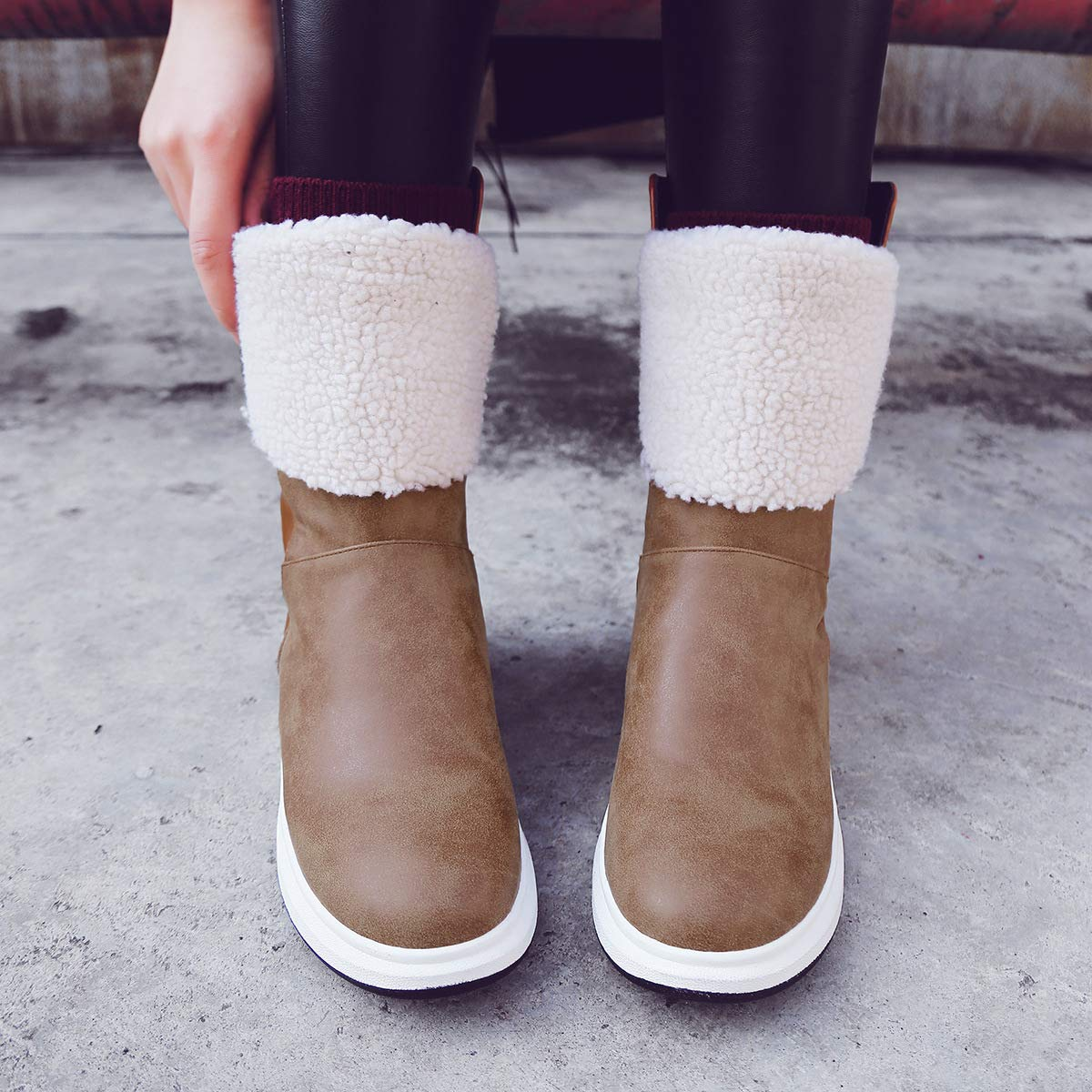 Wpew-Damens's Stiefel Schneeschuhe Größe der Frauen Runde Kopfkeile mit Winter warme Damen Schnee Stiefel