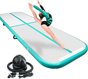BATTIFE Air Tumble Track 10ft/13ft/16ft Inflatable Gymnastics Tumbling Mat 4 Inch Thickness for Home Use(Blue/Green/Pink)