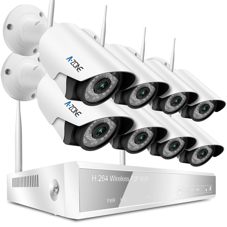 A-ZONE 200万画素タイプ WIFI防犯カメラセット 監視カメラ ナイトビジョン 8CH NVR レコーダー(2000GB内蔵)*8台 カメラ ナイトビジョン  高画質 スマホ/PCでの遠隔監視対応  モーション検知 室内 屋外 防水防塵 IP67 CCTVセキュリティカメラシステム ( 2TB HDD付) B078K43NF9