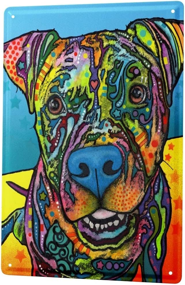 LEotiE SINCE 2004 Tin Sign Metal Plate Decorative Sign Home Decor Plaques Dog Pitbull