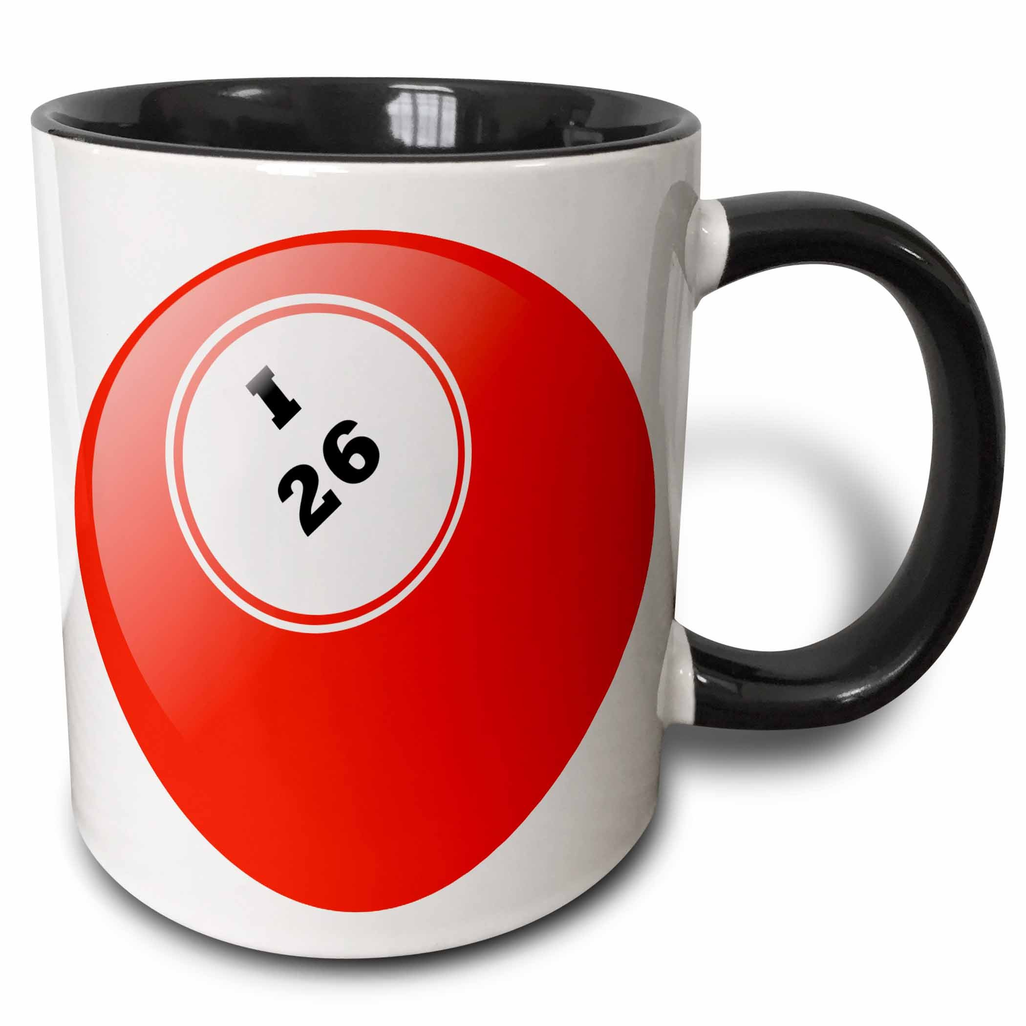 3dRose mug_50294_4 ''Bingo I 26'' Two Tone Black Mug, 11 oz, Multicolor