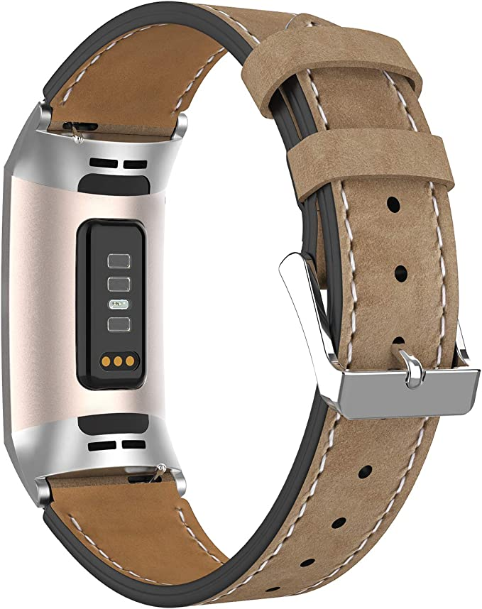 Adepoy Leather Strap Genuine Classic Adjustable Leather Bracelet Compatible With Fitbit Charge 3 And Charge 3 Special Edition Sport Freizeit