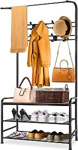 Coat Rack Shoe Rack for Entryway, Hall Tree Shoe Rack Bench Organizer Storage ,Cloth Rack Storage Shelf Bench ,3 Tier Coat Rack Freestanding Shoe Storage with Steel Frame for Hallway, Bedroom, Kitchen