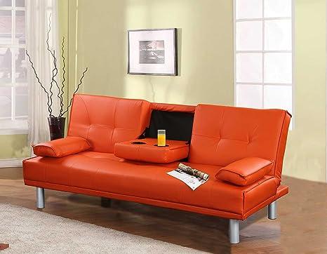Divano Arancione E Marrone : Sleep design manhattan divano letto pieghevole in ecopelle