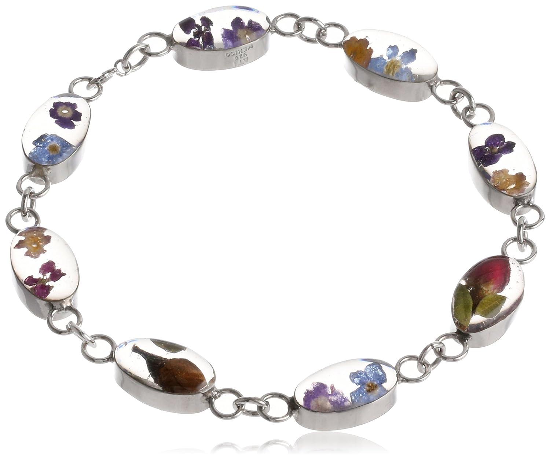 Sterling Silver Pressed Flower Oval Link Bracelet