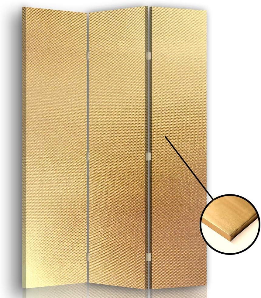 F FEEBY WALL DECOR Separador de Espacios Lienzo 3 Paneles 360° Dorado 110x175 cm: Amazon.es: Hogar