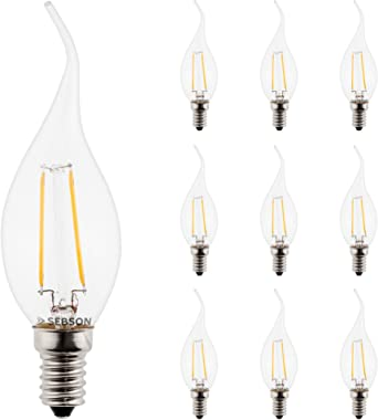 SEBSON LED Lampe E14 3W (2.5W), ersetzt 25W Glühlampe, warmweiß, 200lm, Filament, 160°, geschwungene Spitze, 10er Pack