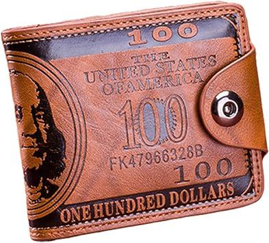 Men Printing Dollar Bill Wallet PU Leather Wallet Bifold Hasp Credit Card Bags