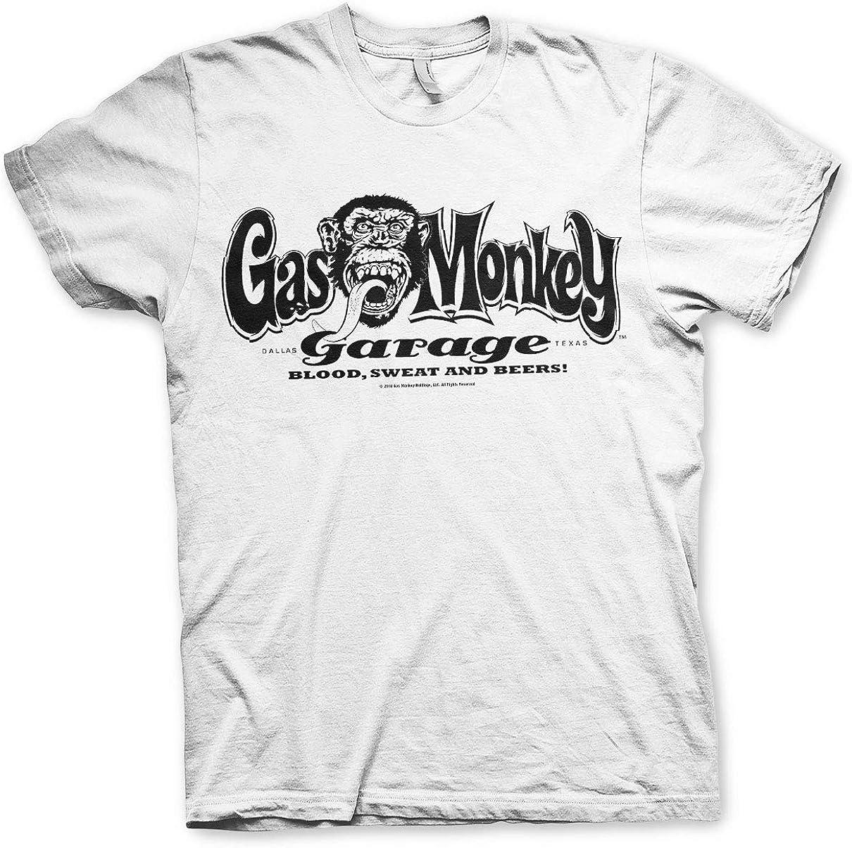 Gas Monkey Garage Camiseta Oficial Hombre Blanco Blanco S: Amazon ...