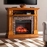 Southern Enterprises Rosedale Corner Infrared Electric Media Fireplace - Sienna