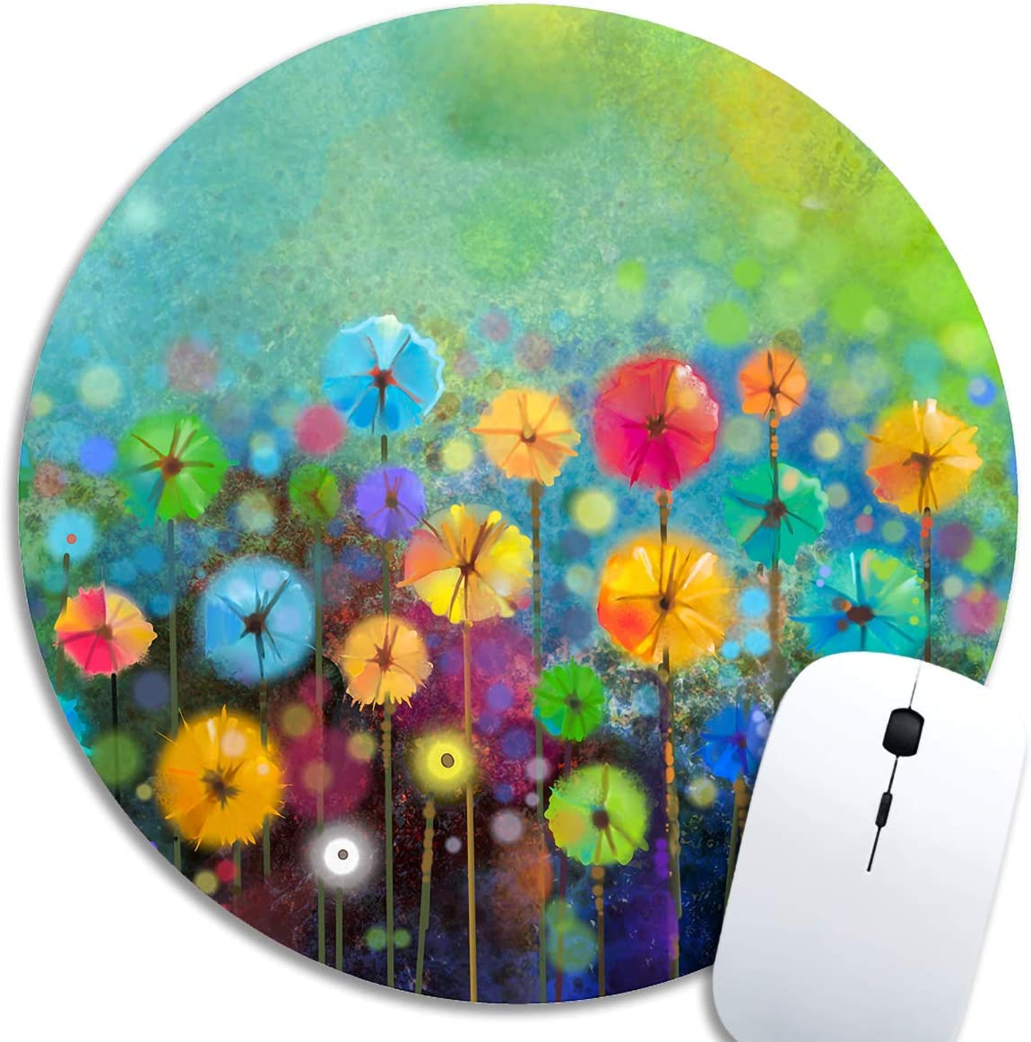 SHruizhuo Cute Gaming Mouse Pad Watercolor Nature Landscape Floral, Desk Mousepad,Small Mouse Pads for Computers Laptop,Round Mouse Mat Colorful Flowers Spring Personalized