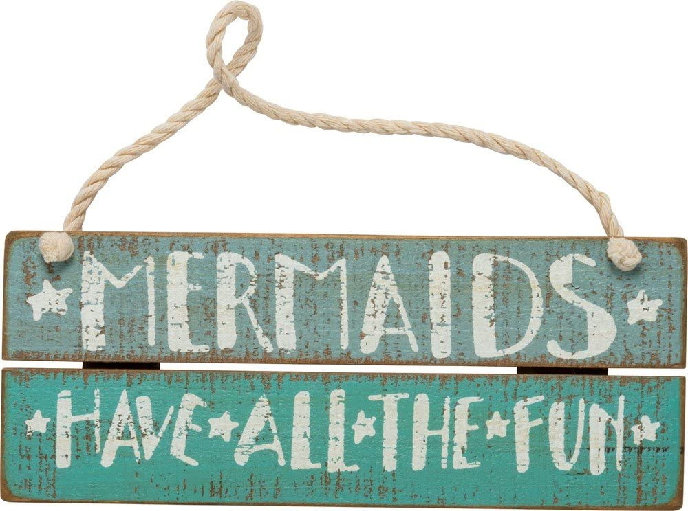 Primitives by Kathy Distressed Blue Slat Hanging Sign, 7.5 x 3, All The Fun