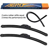 """AERO Voyager 24"""" + 21"""" Premium All-Season OEM Quality Windshield Wiper Blades with Extra Rubber Refill + 1 Year Warranty (Set"""