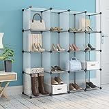 LANGRIA 16-cube DIY Plastic Shoe Rack Modular Shelving Storage Organizer Cabinet Translucent White