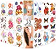 Lady Up 18 Sheets Temporary Tattoo for Kids Women Girls Adults, Waterproof Body Art Fake Temp Tattoos Paper Colorful Flower, Birds & Butterfly Summer Beach (Series 2)