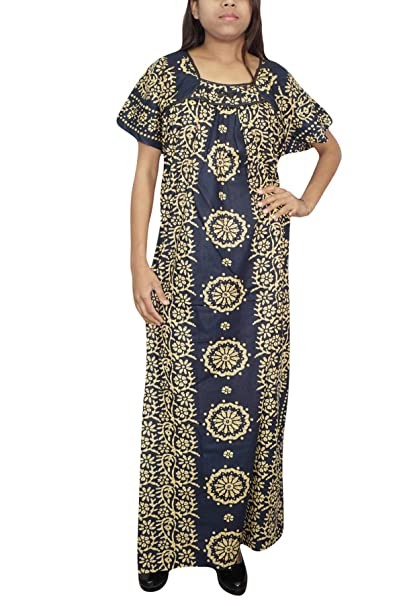 Indiatrendzs Womens Long House Wear Nighty Printed Cotton Dark Blue  Nightgown XXL  Amazon.in  Clothing   Accessories 2146159e8