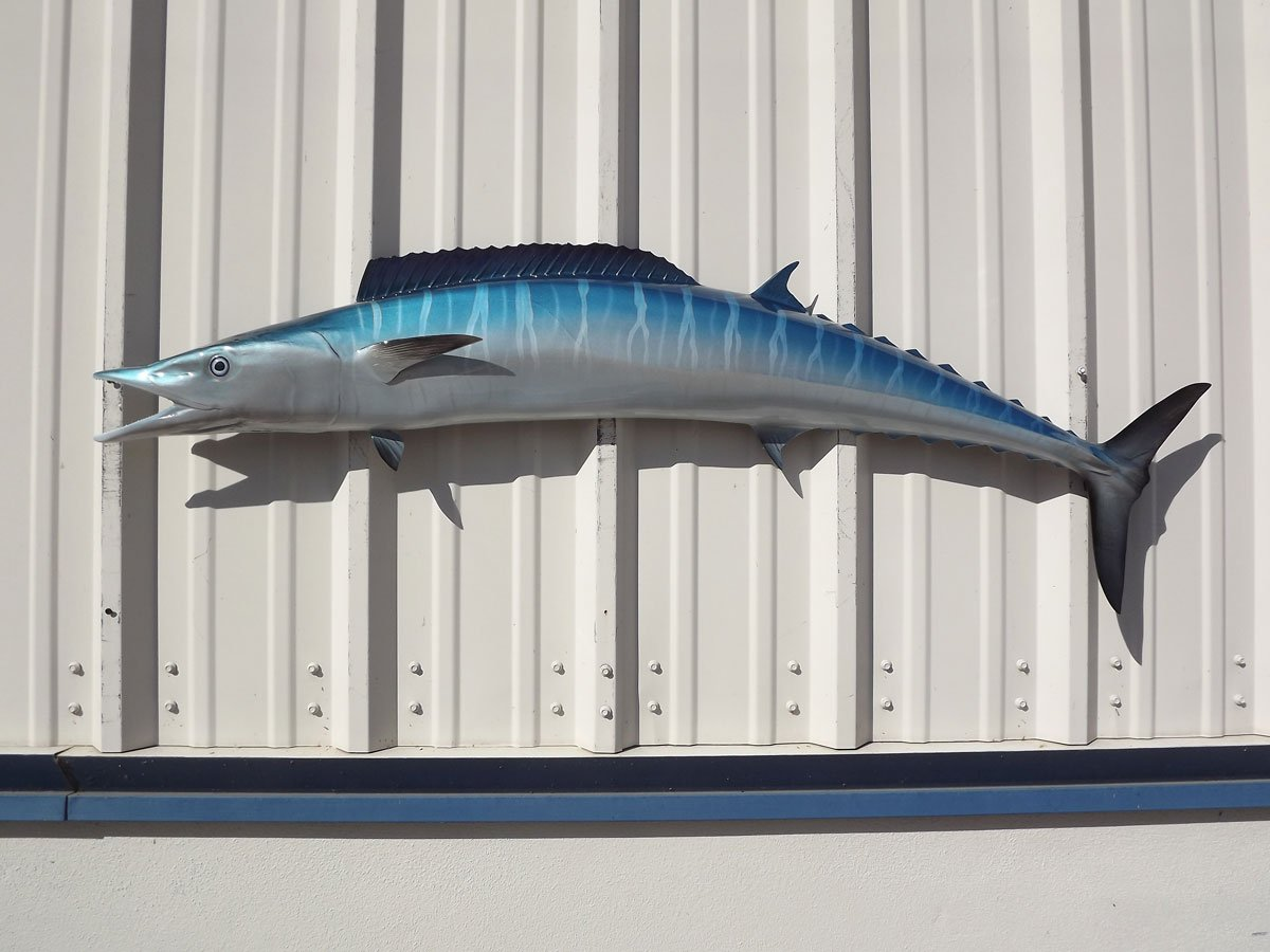 54'' Wahoo Half Sided Fish Mount Replica, Affordable Coastal Decor - Indoors Or Outside.