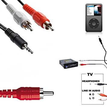 3.5 mm stereo jack to twin phono rca cable