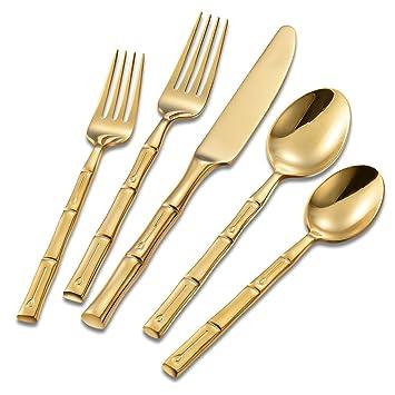 flatasy cubiertos, Servicio para 4, Set de 20 piezas, forjado boda cena cocina restaurante cubertería: Amazon.es: Hogar